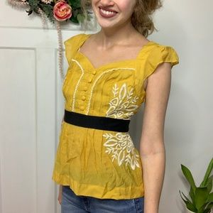 Floreat Anthropologie Mustard Pleated Ponte Blouse